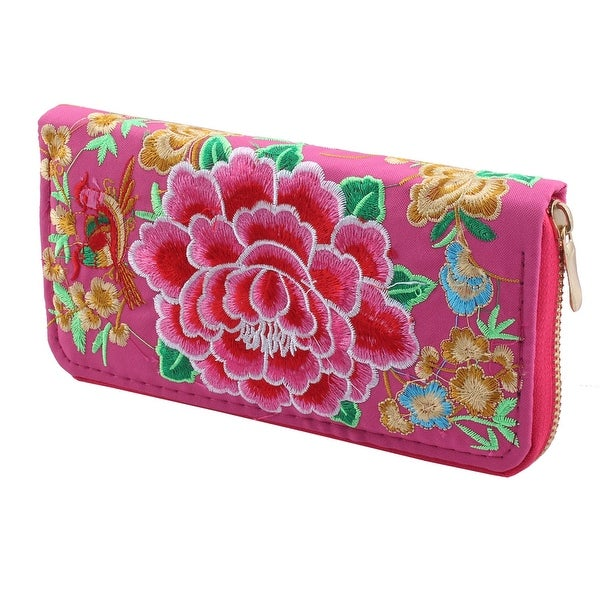 Lady Embroidered Flower Design Zipper Closure Money Card Coin Holder Purse Pink