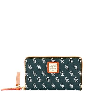 Dooney & Bourke MLB Rockies Zip Around Phone Wristlet (Introduced by Dooney & Bourke at $118 in Mar 2016) - Black