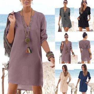Chiffon Loose Tunic Long Sleeve Beach Mini Dress