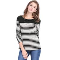 Unique Bargains Women's Horizontal Striped Round Neck Long Sleeves Tee Shirts