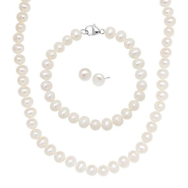 6-7 mm Classic Freshwater Pearl Stud Earring, Bracelet & Necklace Set in Sterling Silver
