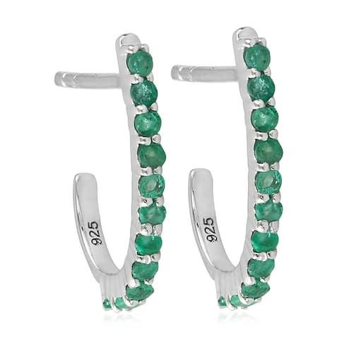 Studded Emerald Gemstone Huggie Earrings 925 Sterling Silver Handmade Jewelry With Free Jewelry Box