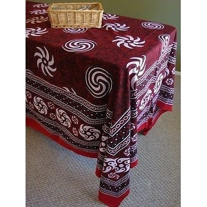 Handmade 100% Cotton Sunflower Spiral Tablecloth Tapestry Spread Maroon 60x88 Twin