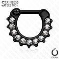 Crystal Paved 316L Surgical Steel Septum Clicker (Sold Ind.) - Thumbnail 2