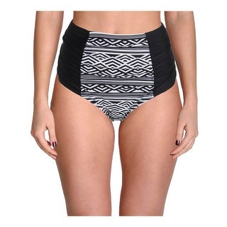 Allure by JMG Womens Plus Wave Illusion Printed High Waist Swim Bottom Separates