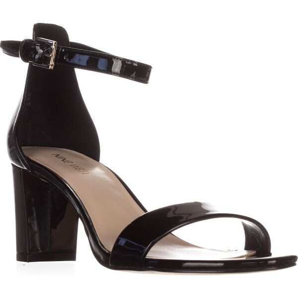 Nine West Pruce Ankle Strap Sandals, Black Patent