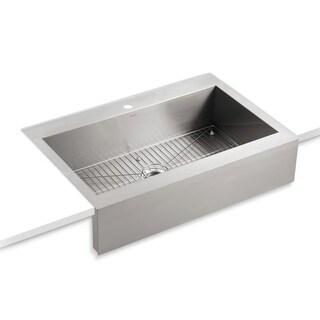"Kohler K-3942-1 Vault 36"" Single Basin Top-Mount 18-Gauge Stainless Steel Kitchen Sink with Self Trimming Technology"