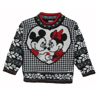 Disney Little Girls Black White Minnie Mickey Mouse Deco Knit Sweater 4-6X