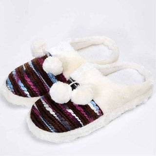 Mad Style Brown Colorful Cozy Knit Slippers