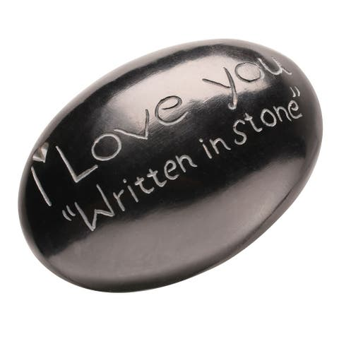 I Love You Written in Stone - Cute and Funny Collectable Gift Stone - Black