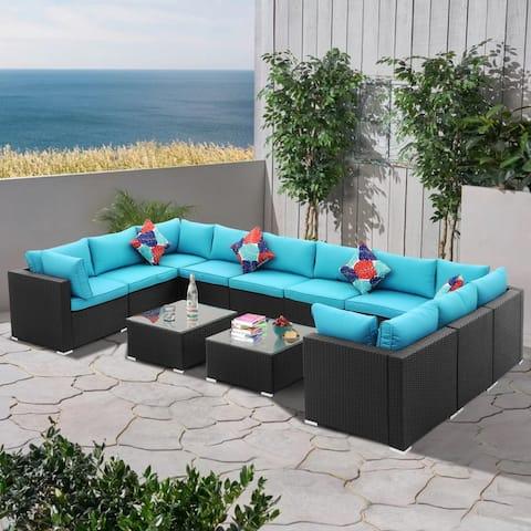 Zenova 11 /12 Pcs Rattan Sofa Sectional Set