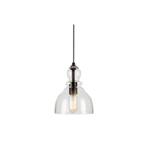 "Forte Lighting 2678-01 1-Light 7"" Wide Mini Pendant with Clear Seeded Glass Shade - n/a"