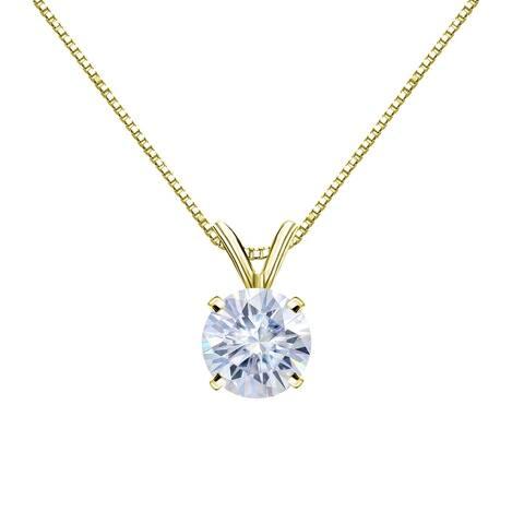 Auriya 14KT Gold 1 1/2ctw Round Solitaire Moissanite Necklace - 7.4 mm - 7.4 mm