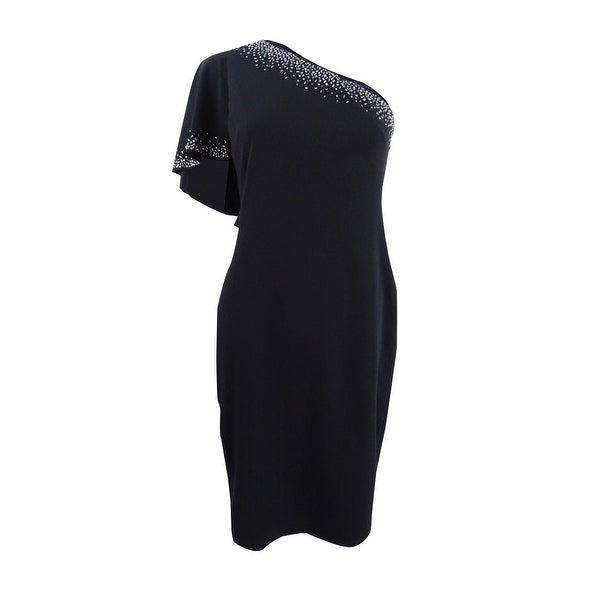 16d9571e4b00 Shop Calvin Klein Women's One-Shoulder Ruffle-Sleeve Dress (10, Black) -  Black - 10 - Free Shipping Today - Overstock - 25716300