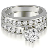 1.95 cttw. 14K White Gold Round Cut Diamond Engagement Set