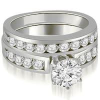 2.45 cttw. 14K White Gold Round Cut Diamond Engagement Set