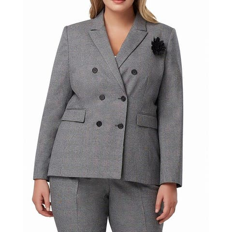 Tahari By ASL Womens Jacket Gray Size 16W Plus Plaid Double Breasted