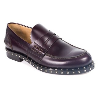 Valentino Gravani Mens Rockstud Burgundy Loafers Slip On