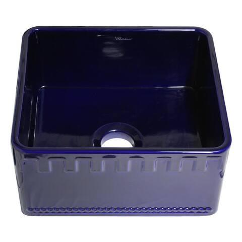 "Whitehaus WHFLATN2018 20"" Dual-Apron Reversible Fireclay Kitchen Sink"