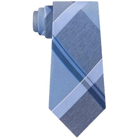 Kenneth Cole Reaction Mens Blue Argento Plaid Skinny Neck Tie Silk