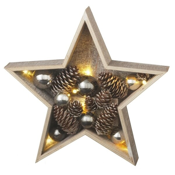 """11"""" Battery Operated LED Lighted Small Country Rustic Wooden Star Christmas Decoration - brown"""
