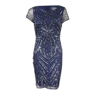 Adrianna Papell Women's Petite Beaded Sequined Dress - navy/gunmetal