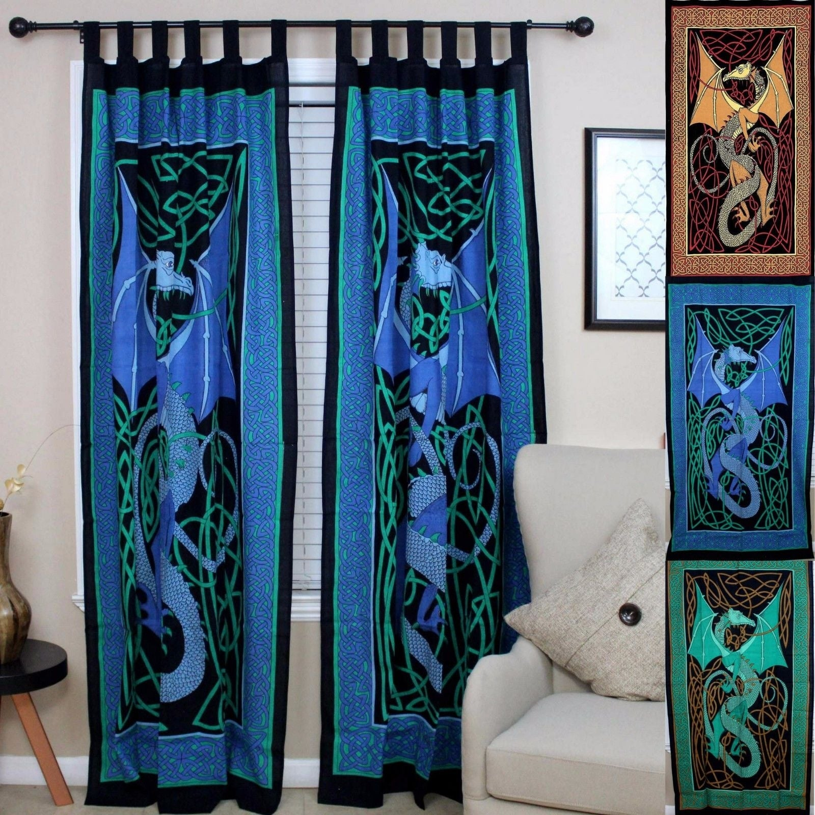 Handmade Celtic Dragon Curtain 100% Cotton Drape Panel 44 x 88 inches in Green Red Brown Blue - 44 x 88 inches - Thumbnail 0