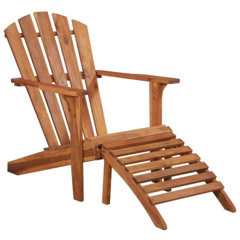 "vidaXL Garden Adirondack Chair with Footrest Solid Acacia Wood - 27.4"" x 52.2"" x 35.8"""