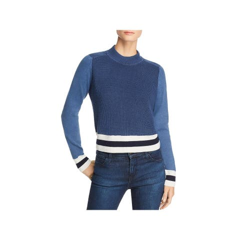 Rag & Bone Womens Dean Pullover Sweater Striped Waffle - Blue