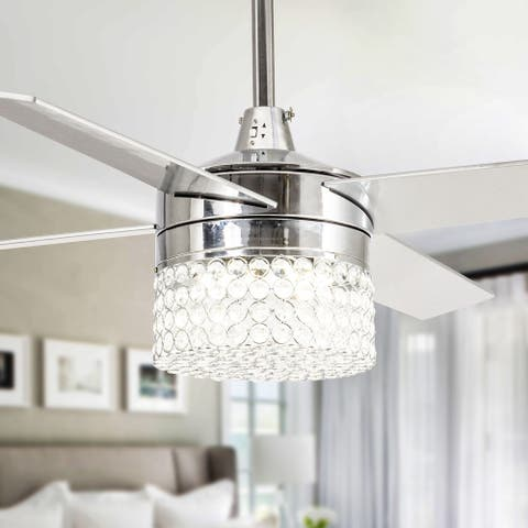 48-inch Chrome 4-Blades Crystal Ceiling Fan with Light