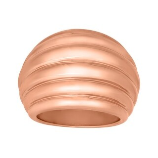 Ribbed Dome Ring in 18K Rose Gold-Plated Bronze - Pink