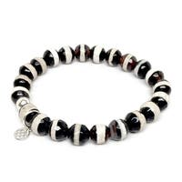 "Black & White Agate Lucy 7"" Sterling Silver Stretch Bracelet"
