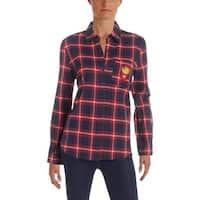 Honey Punch Womens Button-Down Shirt Cotton Plaid
