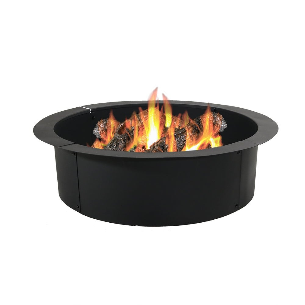 Sunnydaze Heavy Duty Fire Pit Rim, Make Your Own In-Ground Fire Pit - Black - Thumbnail 9