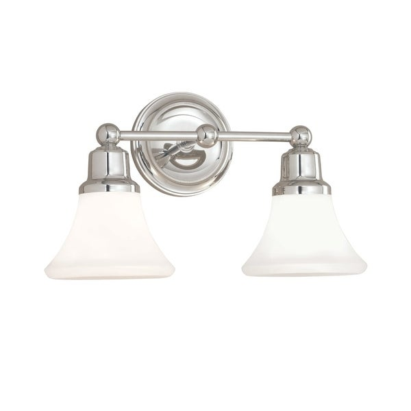 "Norwell Lighting 8952 Elizabeth 10"" Tall 2 Light Bathroom Vanity Light with White Glass Shades"