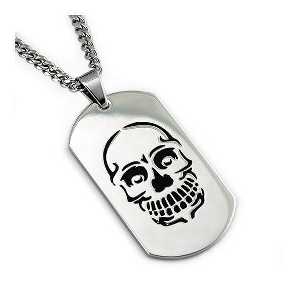 Men's Stainless Steel Dog Tag Pendant w/ Skull Engrave - 24 inches