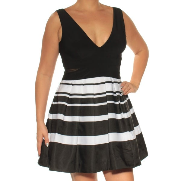 43beadd1c17 Shop XSCAPE Womens Black Low Cut Striped Sleeveless V Neck Mini Fit + Flare  Dress Petites Size  14 - On Sale - Free Shipping On Orders Over  45 -  Overstock ...