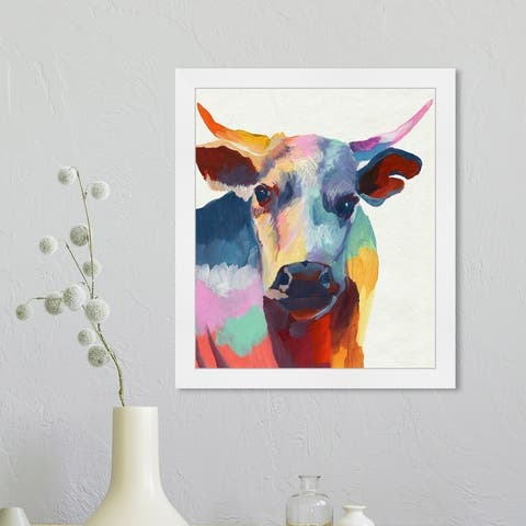Oliver Gal 'Cow Wow' Animals Wall Art Framed Print Farm Animals - Red, Blue
