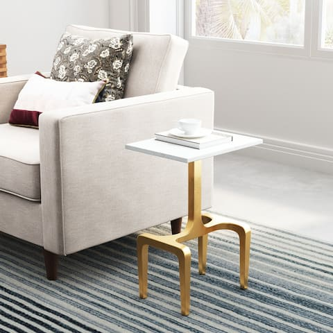 Clement Marble Side Table White & Gold