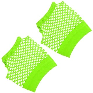 Unique Bargains Pair Woman Elastic Wrist Mesh Style Mittens Gloves Green