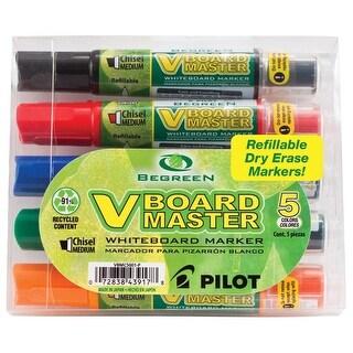 Pilot BeGreen V Board Master Long Lasting Dry Erase Marker for Whiteboard Chisel Tip, Assorted Color, Pack of 5