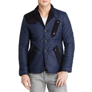 BARBOUR Quilted Stitch Jacket With Suede & Leather Trim Navy Blue Large L