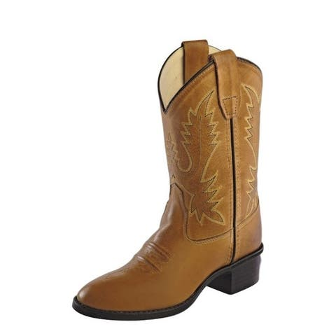Old West Cowboy Boots Boys Goodyear Welt Leather Tan Canyon