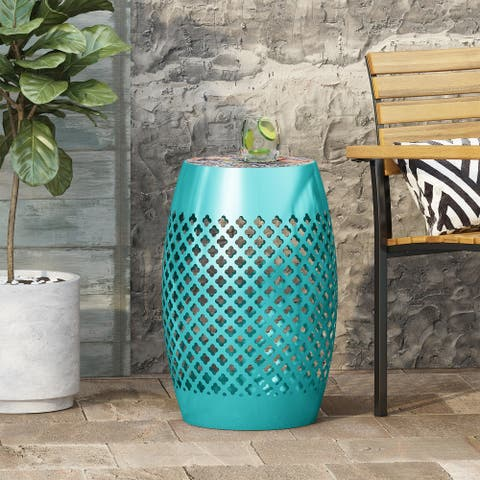 Roswell Outdoor Lace Cut Side Table with Tile Top by Christopher Knight Home
