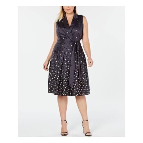 ANNE KLEIN Gray Sleeveless Below The Knee Dress 24W Plus - 24W Plus
