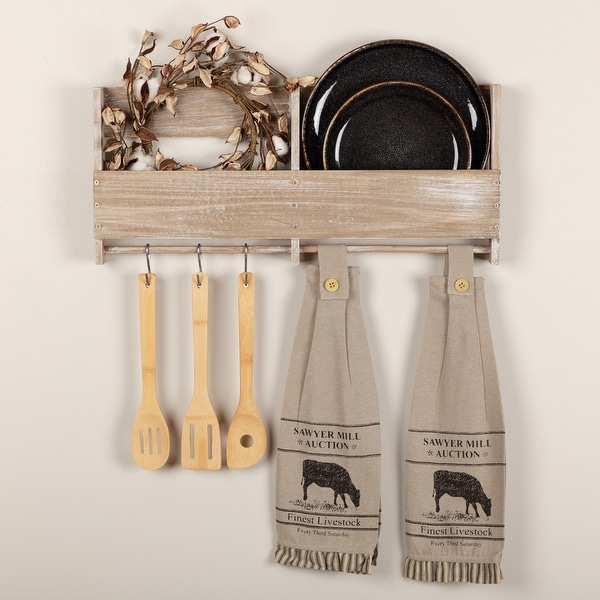 Sawyer Mill Charcoal Cow Button Loop Kitchen Towel Set of 2 - Kitchen Towel 6.5x18. Opens flyout.