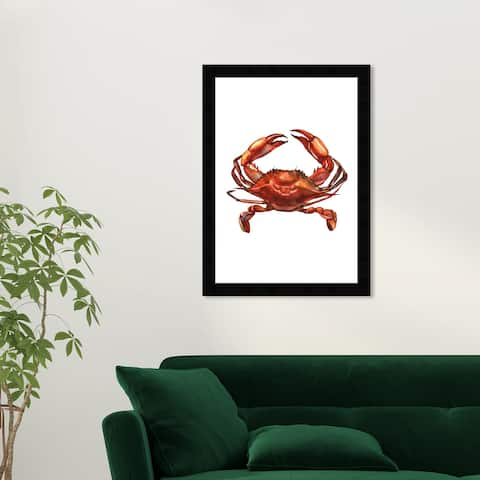 Wynwood Studio 'Crab didnt stop' Animals Wall Art Framed Print Sea Animals - Orange, White