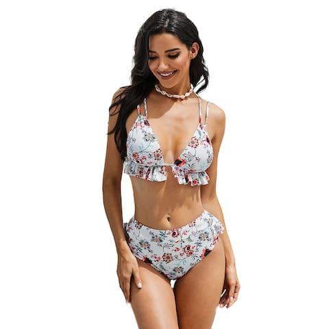 Cali Chic Women's Two Piece Swimsuit Celebrity White Floral Print Ruffles High-Waisted Bikini Set