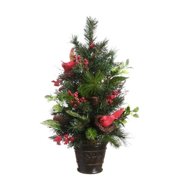 """26"""" Potted Pine Cone, Cardinal and Berry Pine Artificial Christmas Tree - Unlit"""