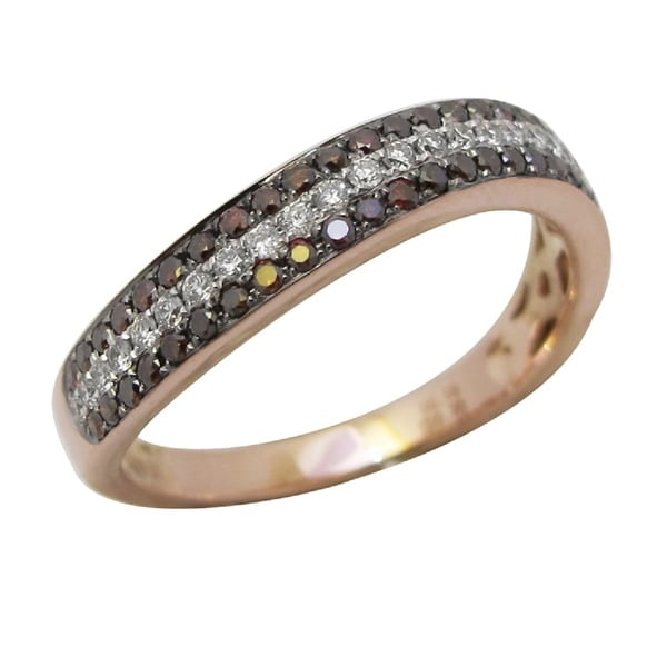 Brand New 0.46 Carat Cognac Color Diamond With Diamond Wishbone Wedding Band, 14k Rose Gold